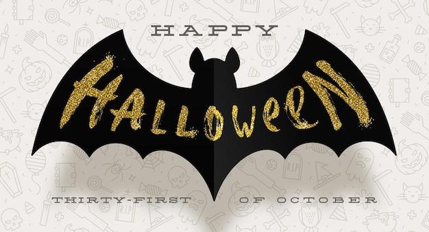 Desenho de halloween. saudação de ouro glitter em uma silhueta de morcego de papel preto.