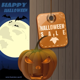 Desenho de halloween. tag - liquidação de halloween. jack o lanterna em um fundo de uma cerca de madeira e a lua cheia. ilustração vetorial