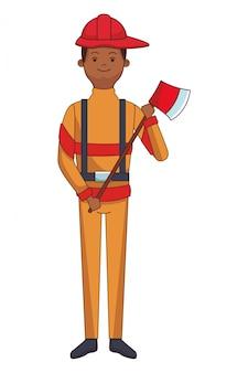 Desenho de herói bombeiro