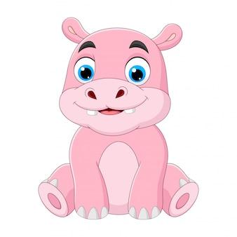 Desenho de hipopótamo bebê fofo de ilustração sentado no fundo branco