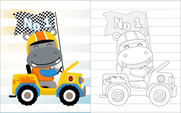 Desenho de hipopótamo o piloto de carro engraçado