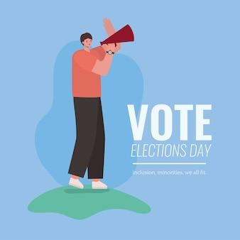 Desenho de homem com design de megafone, dia das eleições de votação