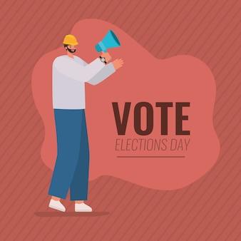 Desenho de homem com design de megafone e capacete, dia de eleições de voto e tema do governo.