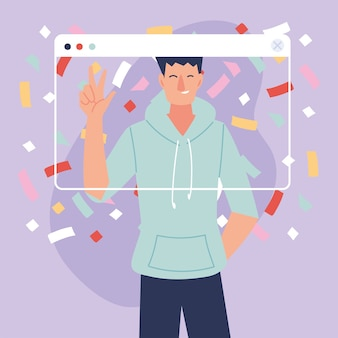 Desenho de homem de festa virtual com roupas esportivas e confetes no design de tela, feliz aniversário e bate-papo por vídeo