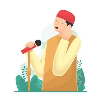 Desenho de homem é chamado à oração no apartamento islâmico do mês do ramadã