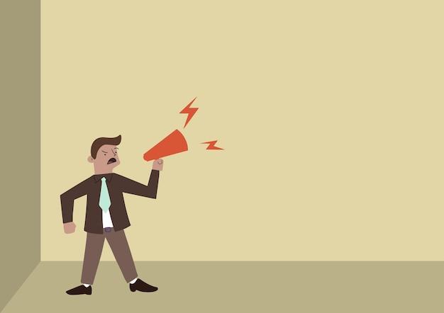 Desenho de homem em pé, gritando no megafone, apresentando novo anúncio de linha de homem de negócios