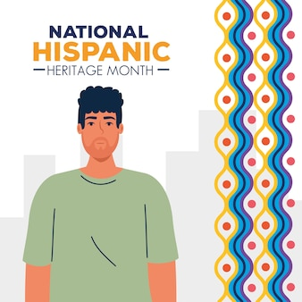 Desenho de homem latino com formas coloridas, mês da herança hispânica nacional e tema cultural