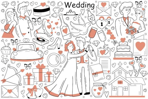 Desenho de homem noivo mulher em cerimônia de casamento na igreja juntos
