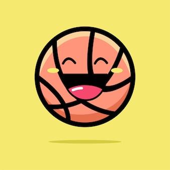 Desenho de ícone de basquete fofo isolado em amarelo