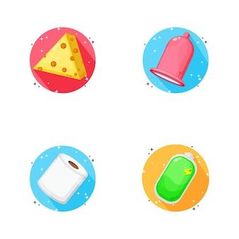 Desenho de ícone de queijo, preservativo, papel higiênico e bateria