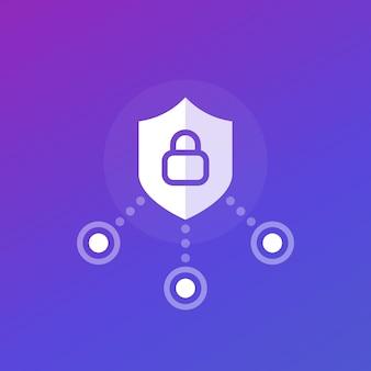 Desenho de ícone de vetor de segurança cibernética