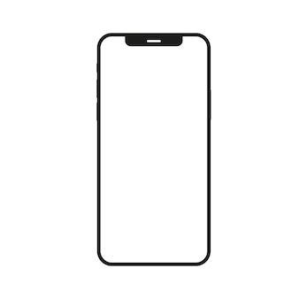Desenho de ícone de vetor de smartphone e ilustração de comunicação móvel em fundo branco