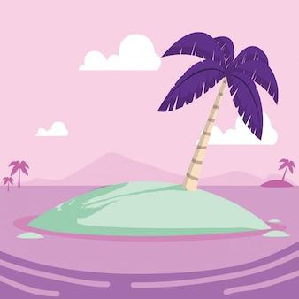 Desenho de ilha tropical