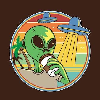 Desenho de ilustração alienígena beber café na praia em estilo cartoon plana