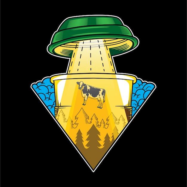 Desenho de ilustração café alienígena disco voador vaca de abdução humor engraçado em estilo cartoon plana