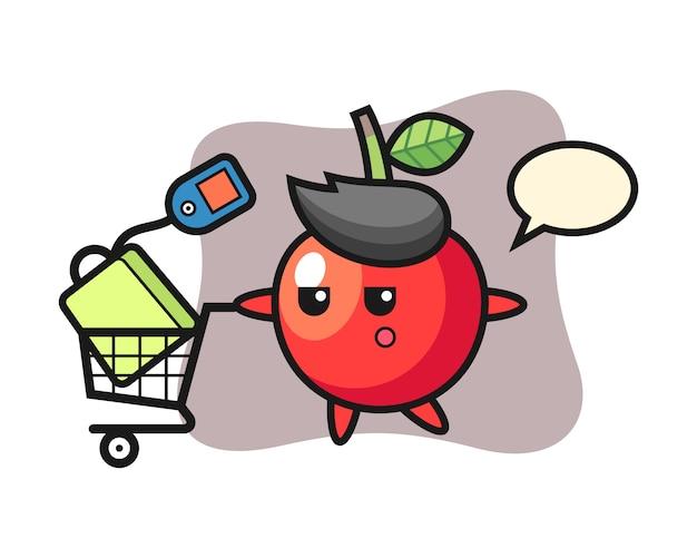 Desenho de ilustração cereja com um carrinho de compras, design de estilo bonito