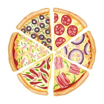 Desenho de ilustração colorida da vista superior da pizza