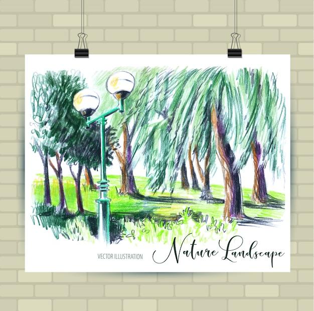 Desenho de ilustração com bela paisagem.
