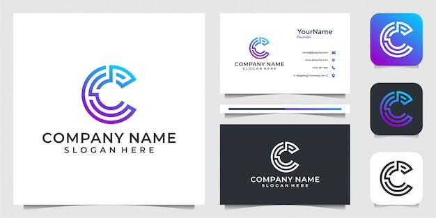 Desenho de ilustração da letra c. bom para tecnologia, internet, moderno, limpo, gradiente, empresa,, negócios e cartão de visita
