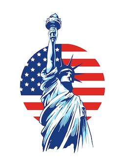 Desenho de ilustração da liberdade para a liberdade democrática