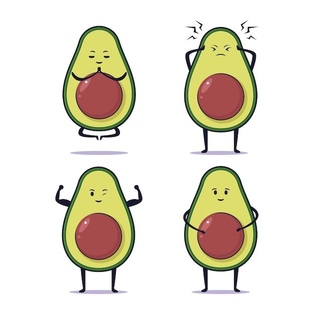 Desenho de ilustração de abacate kawaii fofo