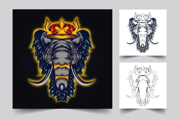 Desenho de ilustração de arte de elefante