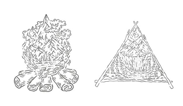 Desenho de ilustração de arte de linha natural