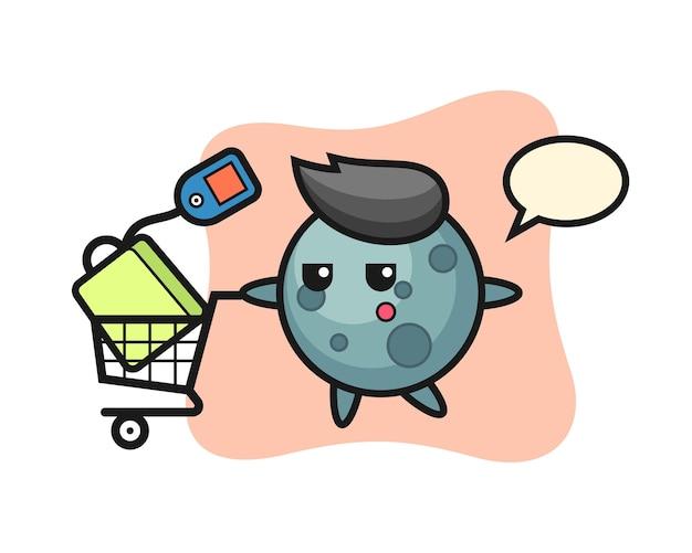 Desenho de ilustração de asteróide com um carrinho de compras, design de estilo fofo para camiseta, adesivo, elemento de logotipo