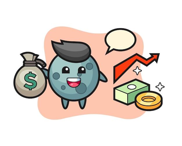 Desenho de ilustração de asteróide segurando um saco de dinheiro, design de estilo fofo para camiseta, adesivo, elemento de logotipo