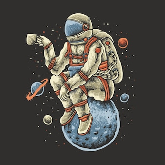 Desenho de ilustração de astronauta de café