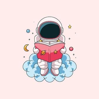 Desenho de ilustração de astronauta fofo desenhado à mão