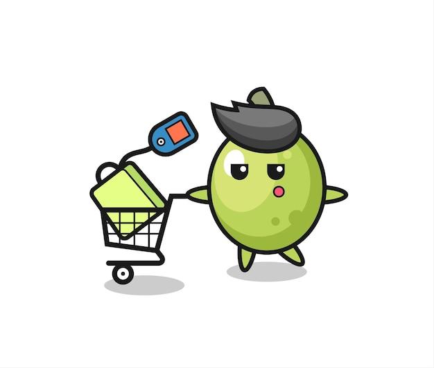 Desenho de ilustração de azeitona com um carrinho de compras, design de estilo fofo para camiseta, adesivo, elemento de logotipo