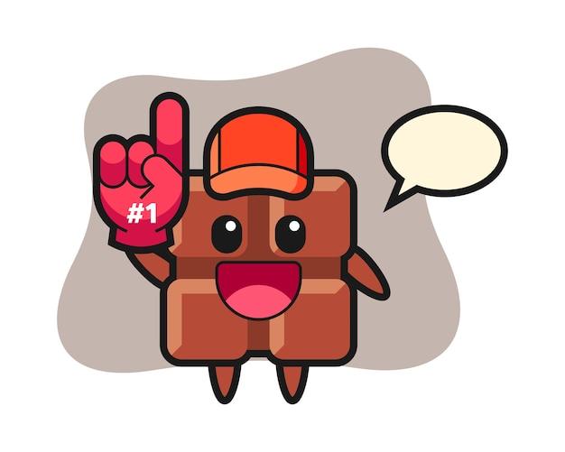 Desenho de ilustração de barra de chocolate com luva de fãs número 1, estilo kawaii fofo.