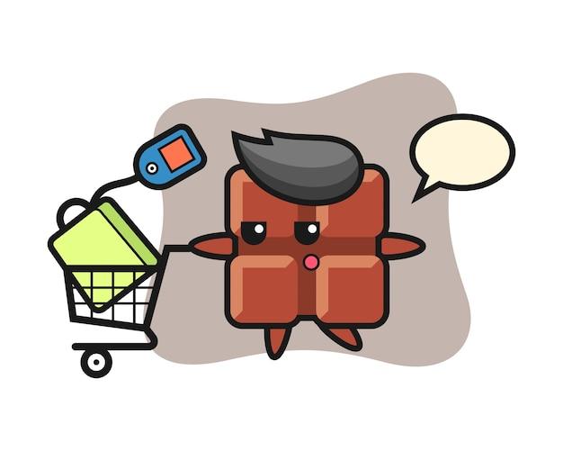 Desenho de ilustração de barra de chocolate com um carrinho de compras, estilo kawaii bonito.