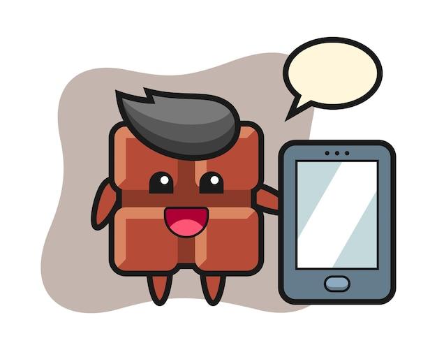 Desenho de ilustração de barra de chocolate segurando um smartphone, estilo kawaii bonito.