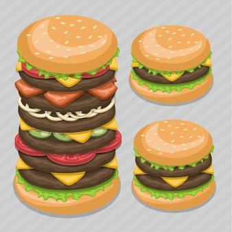Desenho de ilustração de big burger fast-food.