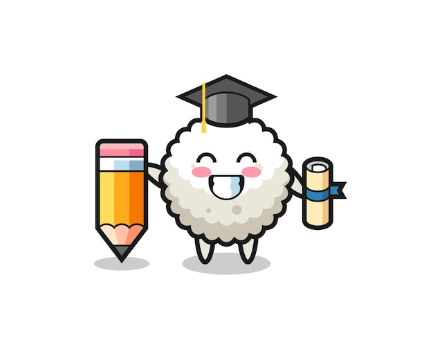Desenho de ilustração de bola de arroz é a graduação com um lápis gigante, design de estilo fofo para camiseta, adesivo, elemento de logotipo