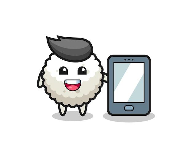 Desenho de ilustração de bola de arroz segurando um smartphone, design de estilo fofo para camiseta, adesivo, elemento de logotipo