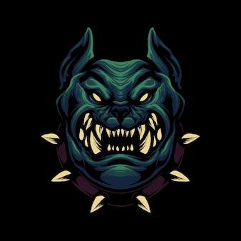 Desenho de ilustração de cabeça de cachorro zangado