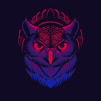 Desenho de ilustração de cabeça de coruja escura