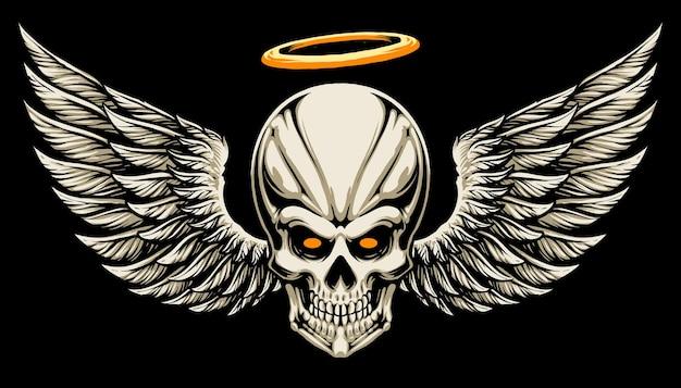 Desenho de ilustração de cabeça de crânio de anjo