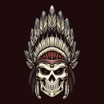 Desenho de ilustração de cabeça de crânio de apache indiano