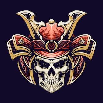 Desenho de ilustração de cabeça de crânio de samurai