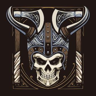 Desenho de ilustração de cabeça de crânio viking
