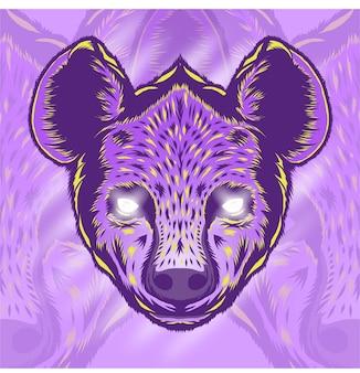 Desenho de ilustração de cabeça de hiena