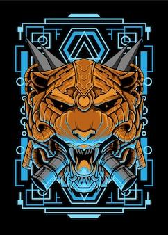 Desenho de ilustração de cabeça de tigre mecha design de vestuário vetor de cabeça de tigre mecha