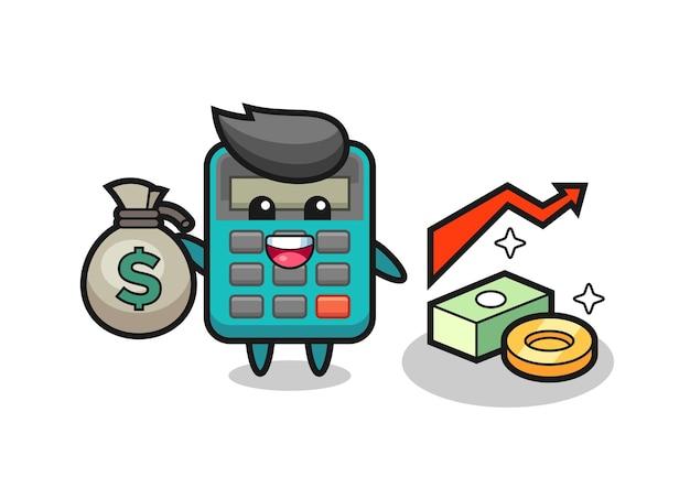 Desenho de ilustração de calculadora segurando um saco de dinheiro, design de estilo fofo para camiseta, adesivo, elemento de logotipo