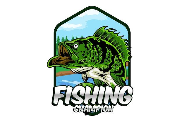 Desenho de ilustração de campeão de pesca