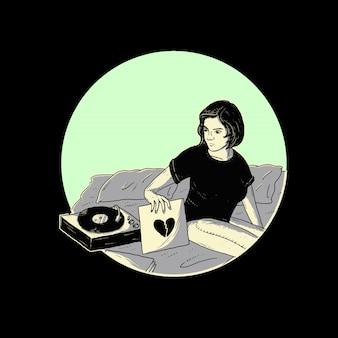 Desenho de ilustração de canção triste