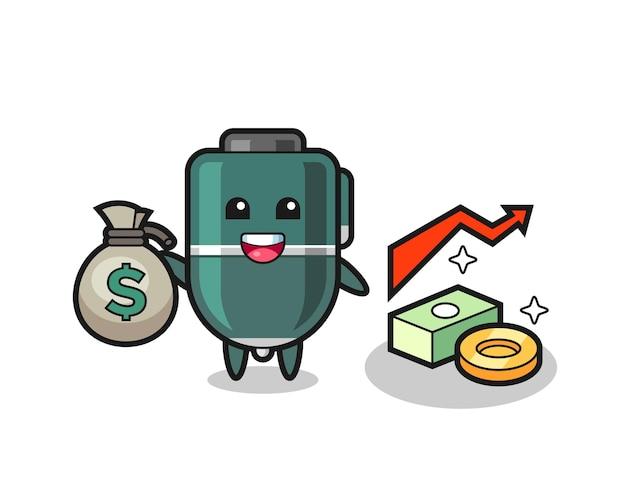 Desenho de ilustração de caneta esferográfica segurando um saco de dinheiro, design fofo